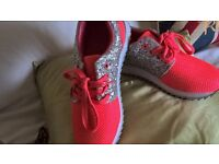 Orange sparkly trainers - Size 5 - New