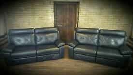 Black leather 2x3 seater sofas