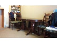 Solid wooden dinning table with six chairs
