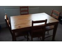 Ikea dining table and chair set - solid pine