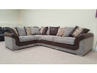 MUST GO NEW FABRIC CORNER SOFA Brown and Beige REDUCED TO CLEAR HALF PRICE