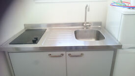 'Mini kitchen' - freestanding unit with fridge, hob/cooker, cupboard and sink
