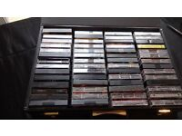 CASSETTE TAPE CASE FULL WITH VINTAGE TAPES -56 mixed music genre