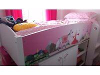Girls White/Pink Princess Midsleeper BedFRAME