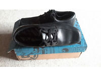 'Bootleg' boys black leather lace up shoes