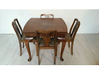 Attractions Solid Walnut 1920s Extendable Dining Table and Chairs