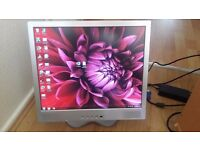 "Fully Functional 17"" Inch Grey Colour Flatscreen Monitor With Power Cord and VGA Cable + MORE ITEMS"