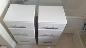 Pair of 3 drawers (white high gloss)