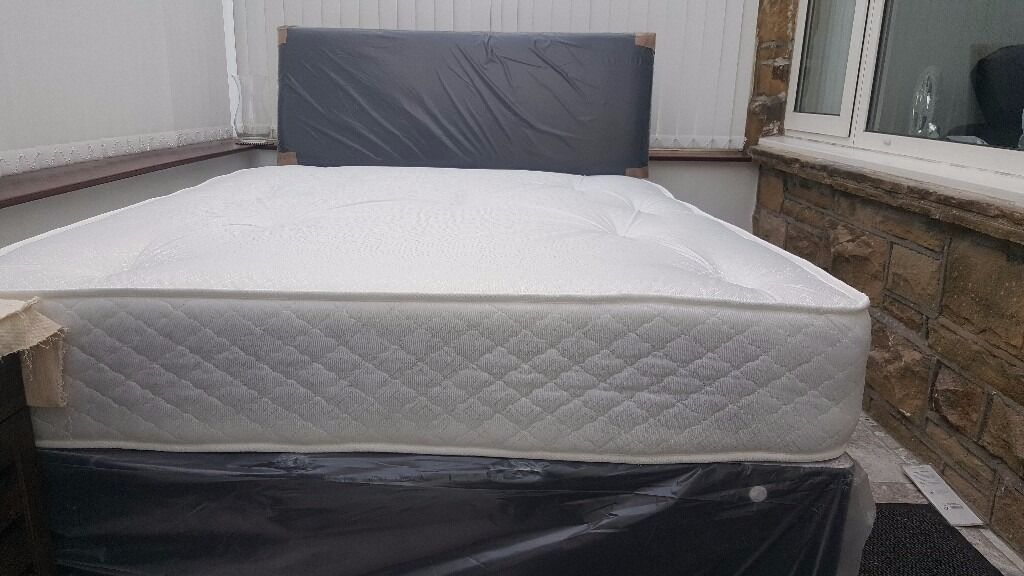 NEW DOUBLE OR SMALL DOUBLE DIVAN BED WITH MEDIUM FIRM ORTHOPAEDIC MATTRESS