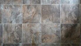 Stone tile effect vinyl flooring sheet 14'6'' x 6'6''