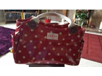 Cath Kidston red and white spot bag, cream fabric handles
