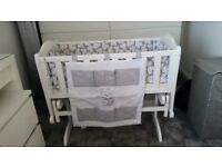 White baby gliding cradle, crib, glider, cot