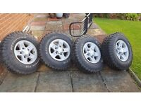 Land Rover Alloy rims and tyres 4 off and wrap around bull bar.