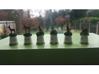 China hand carved and painted thimbles 36 in collection all perfect and boxed