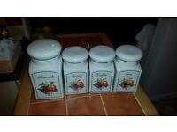 £5 Kitchen Jar Set. Tea Coffee Sugar Biscuits Complete Set