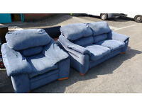 Blue fabric 2 seater and armchair
