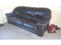 Reid Black Leather Sofa, 3 Seater & Arm Chair **Collection Only**