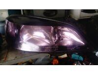 vauxhall astra mk4 head lights (purple ) with eye brows purple bulbs