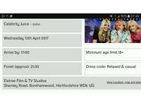 2 tickets for Celebrity Juice TONIGHT