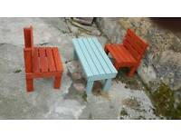CHILDS BENCH AND CHAIRS