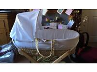 White Moses basket and stand