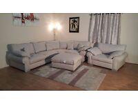 Ex-dispay Buzz Natural fabric corner sofa, snuggler chair and footstool