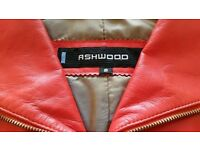 "*New ''Ashwood"" Red Leather Belted Designer Jacket:Tailored: Biker Style/ Satin Lined. Size: Small"