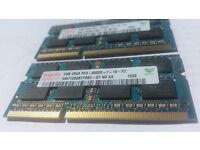 4Gb (2x2Gb) SDRAM, DDR3,1066, SO-DIMM