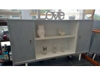 shabby chic refurbished grey sideboard painted in grey and white with 2 cupd and one shelf