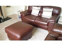 Two 2 seaters, chair & foot stool