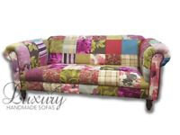 3 Seat Patchwork Chesterfield Sofa & Stool with Free Mainland UK Delivery