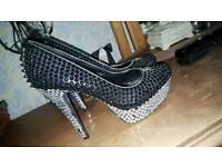 Ladies fully blinged rock heels worn once size 6