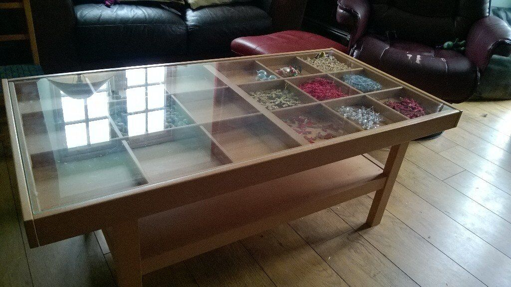 Ikea display coffee table beech wood with glass top in kirriemuir angus gumtree Display coffee table with glass top