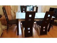 DESIGNER DINING TABLE IN GLASS & CHROME + 6 CHAIRS