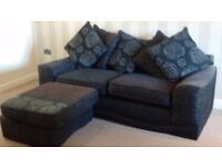 3 seater sofa and footstool in charcoal grey. Buyer to collect
