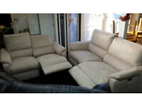 EX-DISPLAY BIEGE SUEDE 3+2 SEATER QUALITY ELECTRIC RECLINER SET