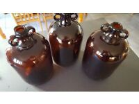 3 x Brown Demijohns