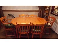 Solid pine 6 seater dining room table with chairs