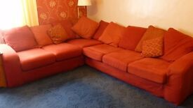 Large sofa, 10 foot (long side) x 8 foot (short side). Comfortable and in excellent condition.