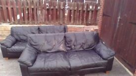 2x 3 Seater Black Leather Sofas