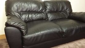 Black real leather sofa for sale