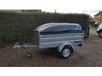 New Car trailer Brenderup 1205s XL with lockable Abs lid .