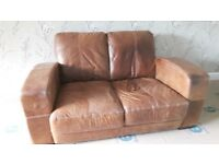 Leather sofa - 3 seater, 2 seater, chair & footstool