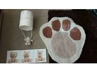 Nursery lampshade rug and canvas pictures