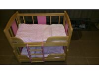 PinToy dolls bunk bed, including bed sheets.