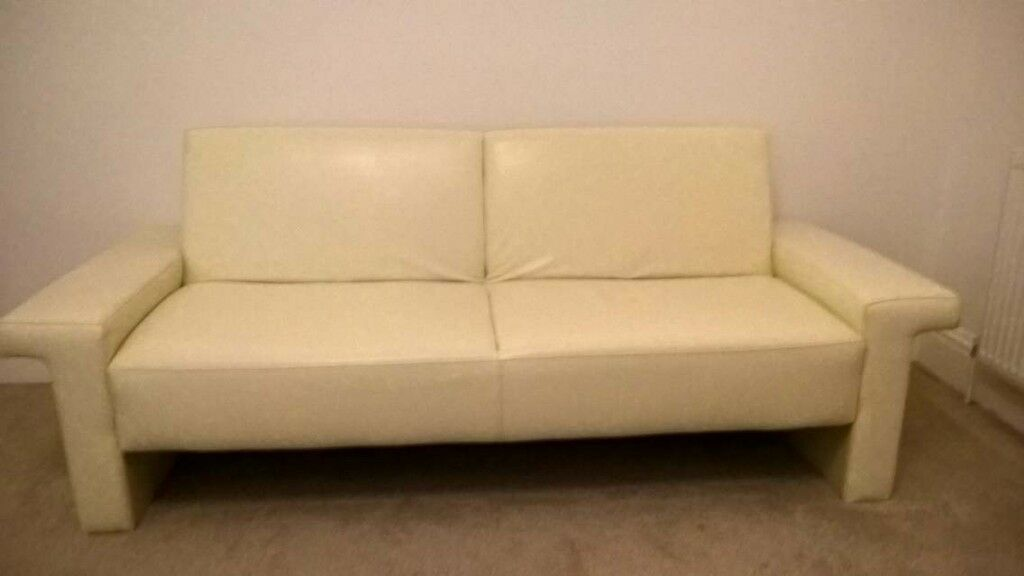Cream Leather Sofa Bed In Good Clean Condition