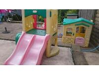 Little Tikes dual slide climbing frame and little Tikes play house