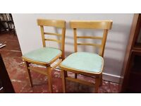 Two Wooden Light Blue dinning Chairs