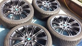 GENUINE BMW MV2 18'' ALLOY WHEELS GUNMETAL GREY WITH EXCELLENT TYRES FOR 3 & Z SERIES