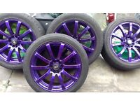 "Cadbury purple rota alloy wheels 17"" vw toyota multi fitment make me a offer"